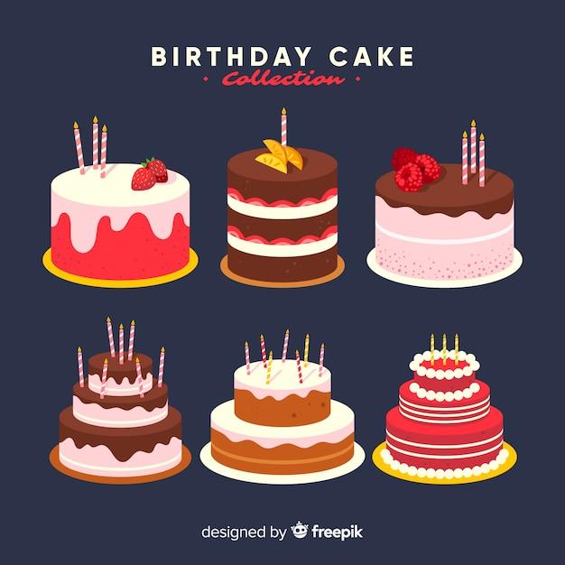 Коллекция торта ко дню рождения Бесплатные векторы