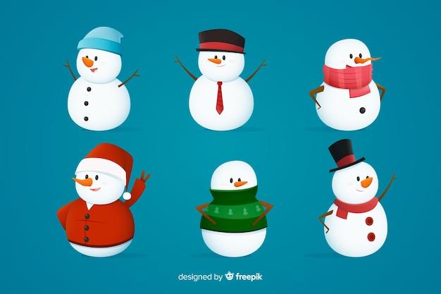 Снеговик рождественская коллекция символов Бесплатные векторы