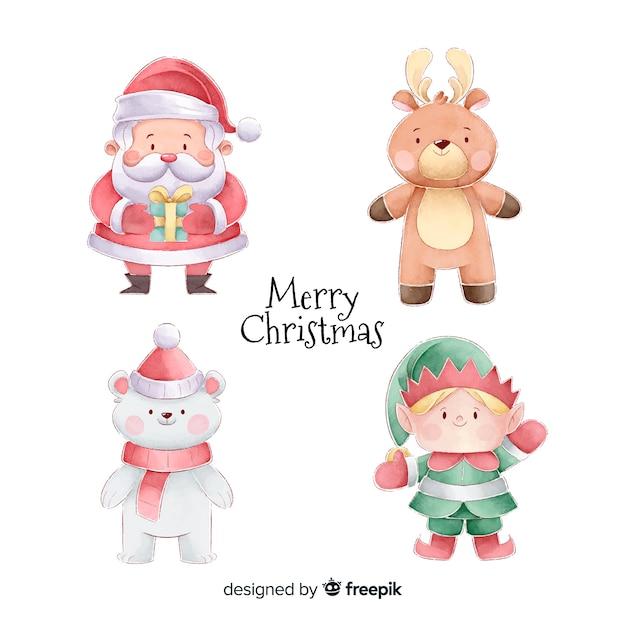 Коллекция акварельных рождественских персонажей Бесплатные векторы