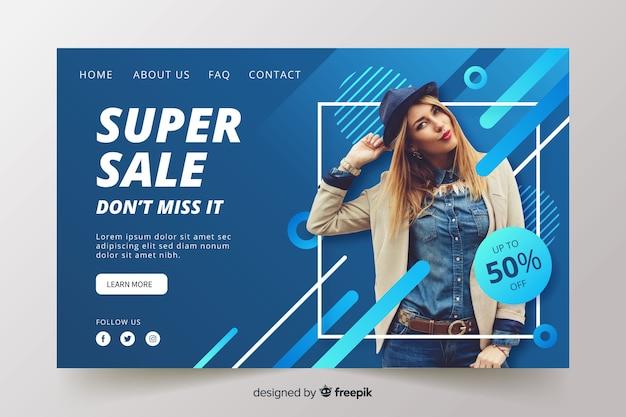 Абстрактная страница продаж с фотографией Бесплатные векторы