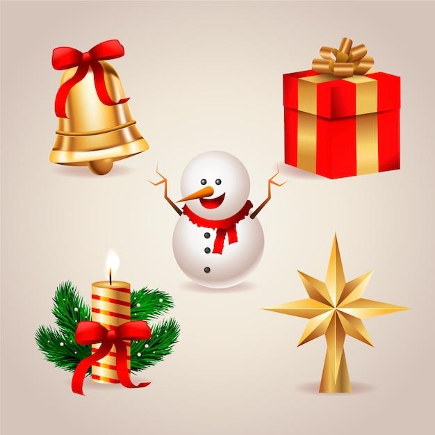 クリスマスツリーの装飾要素のコレクション 無料ベクター