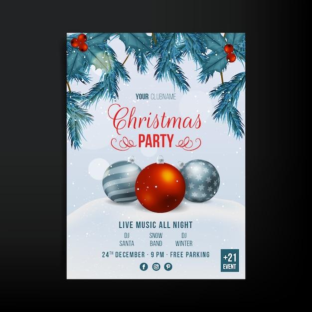 現実的なクリスマスパーティーポスターテンプレート 無料ベクター