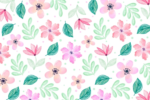 柔らかい色と水彩の花の背景 無料ベクター
