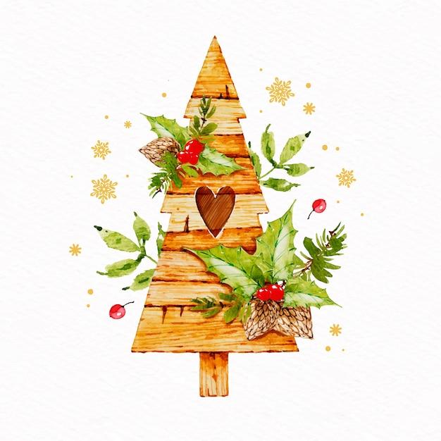 水彩のクリスマスデコレーション 無料ベクター