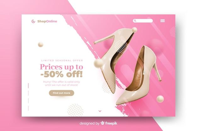 Продажа абстрактной целевой страницы с фотографией Бесплатные векторы