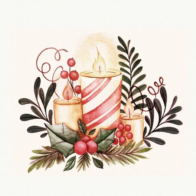 水彩クリスマスキャンドルデコレーション 無料ベクター