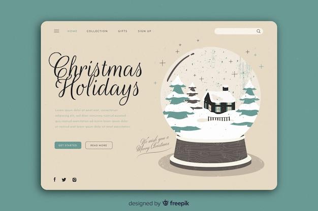 ビンテージテンプレートクリスマスランディングページ 無料ベクター