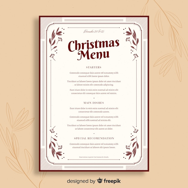 ビンテージテンプレートクリスマスメニュー 無料ベクター