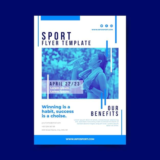 女性飲料水とスポーツポスターテンプレート 無料ベクター