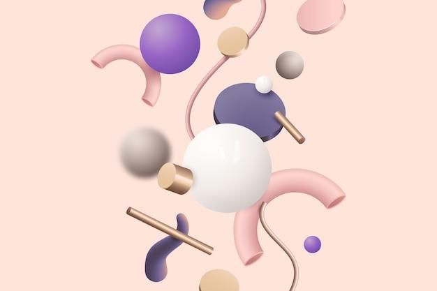 ピンクの背景にさまざまなカラフルな幾何学的図形 無料ベクター