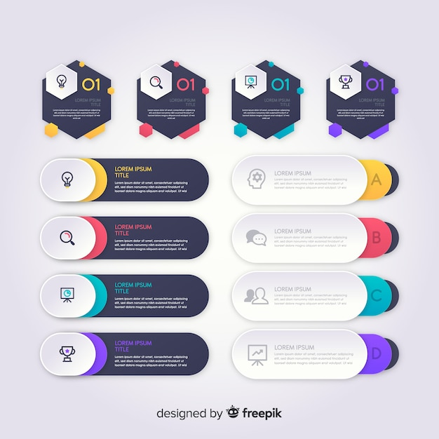 Шаблон градиента инфографики элементы Бесплатные векторы