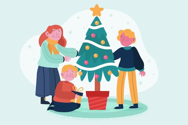 ツリーとクリスマス家族のシーン 無料ベクター