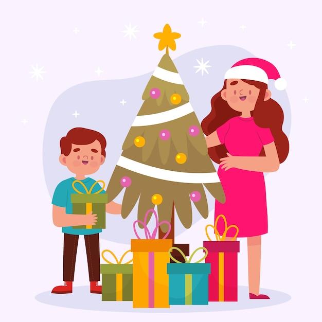 クリスマス家族シーンフラットデザイン 無料ベクター