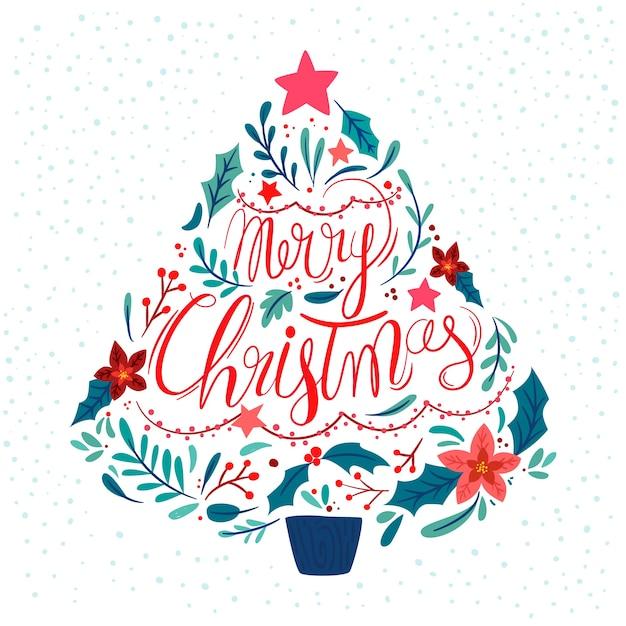 レタリングとフラットなクリスマスツリー 無料ベクター
