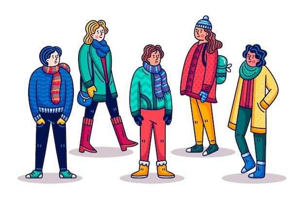 冬の服を着て漫画人 無料ベクター