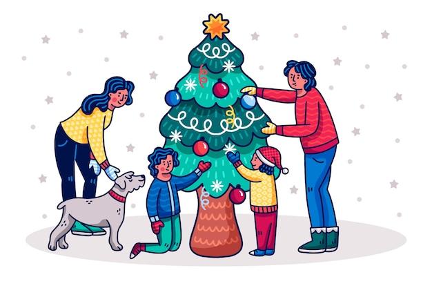 Иллюстрация людей, украшающих дерево Бесплатные векторы