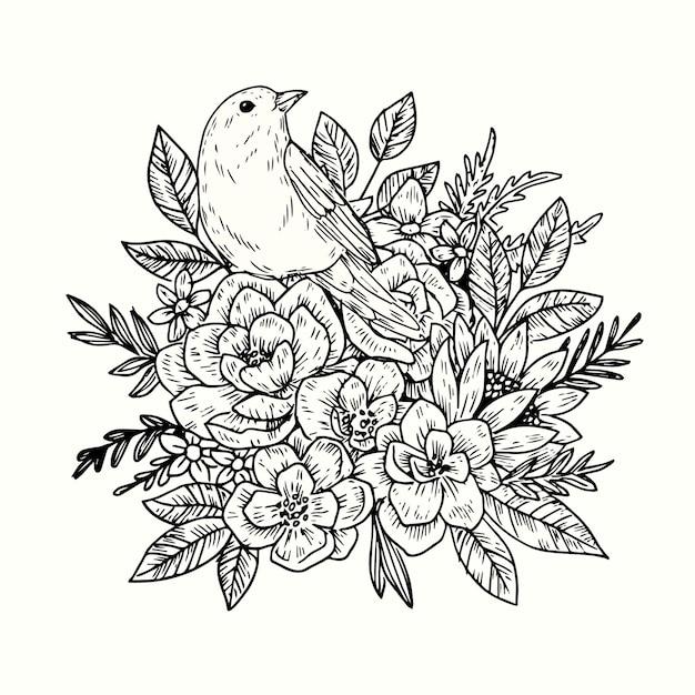 現実的な手描きのヴィンテージの花の花束 無料ベクター