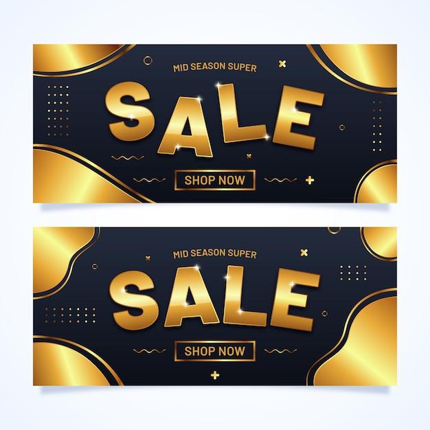 Набор реалистичных золотой баннер продаж Бесплатные векторы