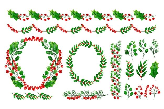 クリスマスの装飾の水彩画のコレクション 無料ベクター
