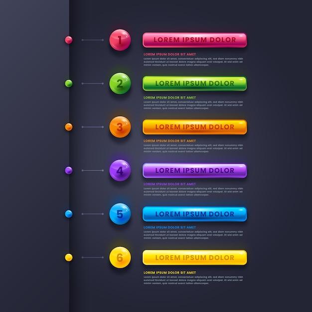 Реалистичные глянцевые инфографические шаги Бесплатные векторы
