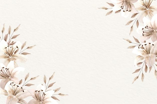 柔らかい色と花の背景水彩画 無料ベクター