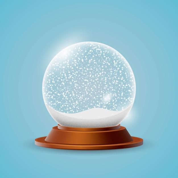 Реалистичный новогодний снежный шар Бесплатные векторы