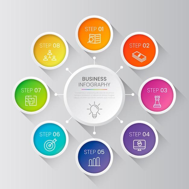 グラデーションビジネスインフォグラフィックの手順 無料ベクター