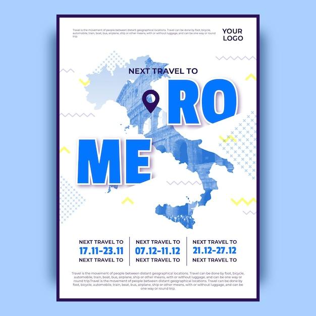 Красочный плакат путешествия рим Бесплатные векторы