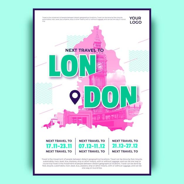Красочный лондонский туристический плакат Бесплатные векторы
