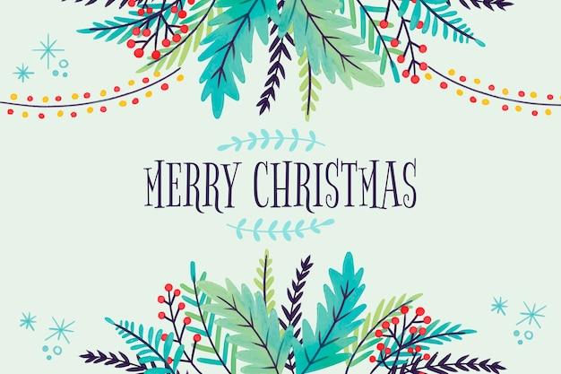 クリスマスツリーの枝の水彩背景 無料ベクター