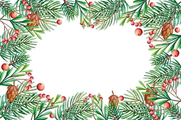背景クリスマスツリーの枝の水彩画 無料ベクター