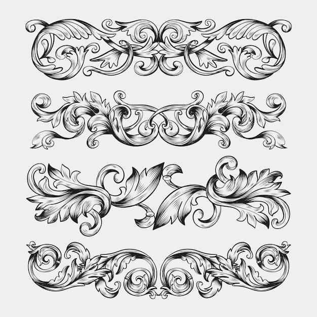 Ручной обращается реалистичный орнамент границы Бесплатные векторы