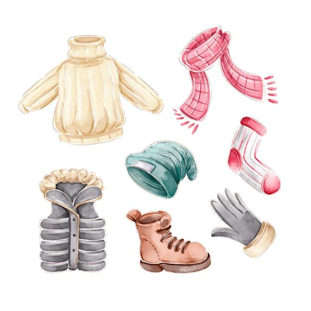 Акварельная зимняя одежда и предметы первой необходимости Бесплатные векторы