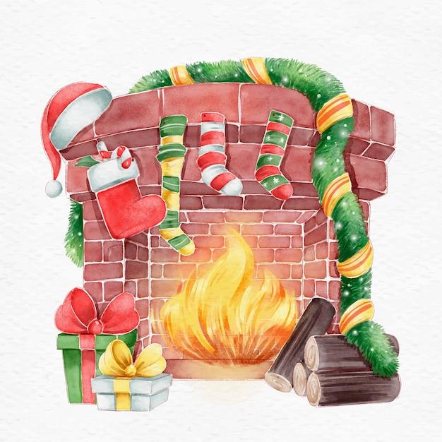 Рождественская сцена камина в акварели Бесплатные векторы