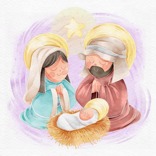 水彩でキリスト降誕シーンのコンセプト 無料ベクター