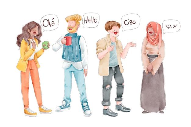 異なる言語でコミュニケーションする人々 無料ベクター