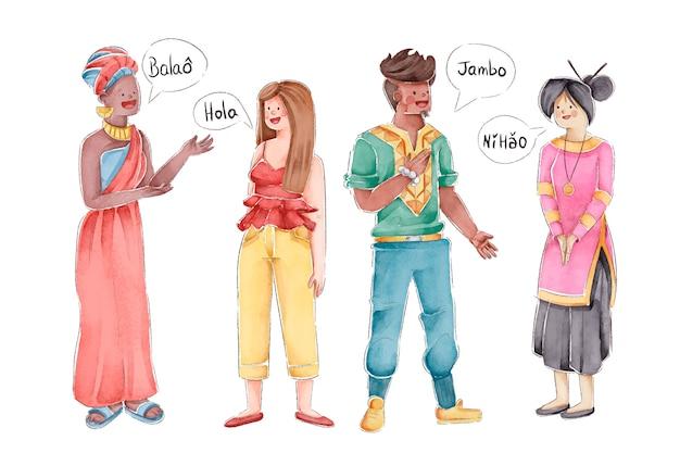 多文化の人々のイラストレーション 無料ベクター