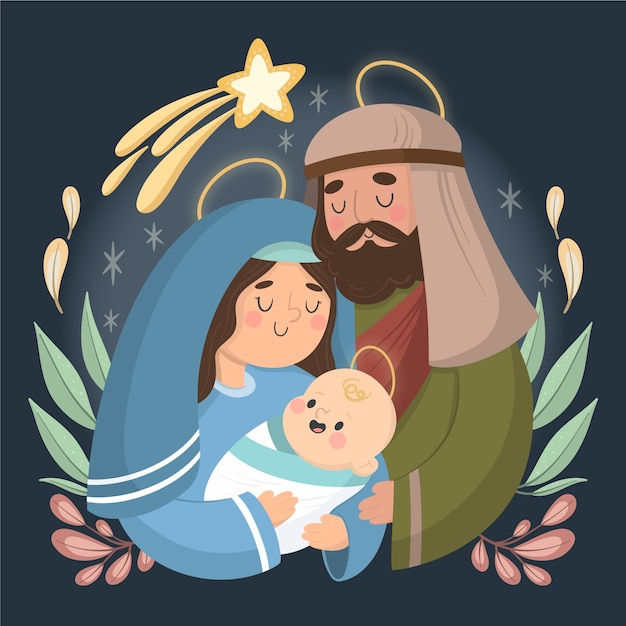 手描きのキリスト降誕シーンのコンセプト 無料ベクター