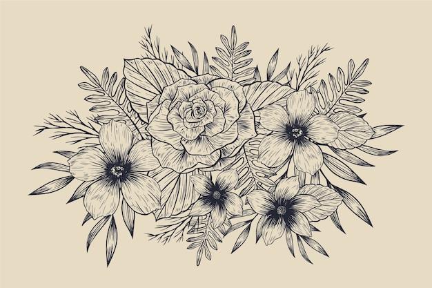 Реалистичные рисованной винтажный цветочный букет Бесплатные векторы