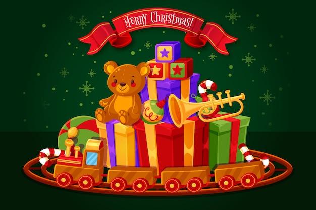 フラットなデザインのクリスマスおもちゃの背景 無料ベクター