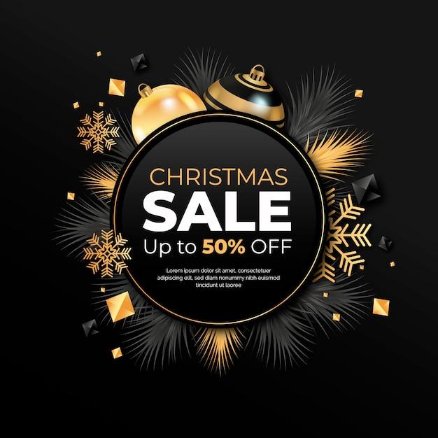 Рождественская распродажа концепции с реалистичным фоном Бесплатные векторы