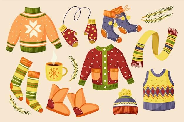Разноцветная теплая зимняя одежда и аксессуары Бесплатные векторы