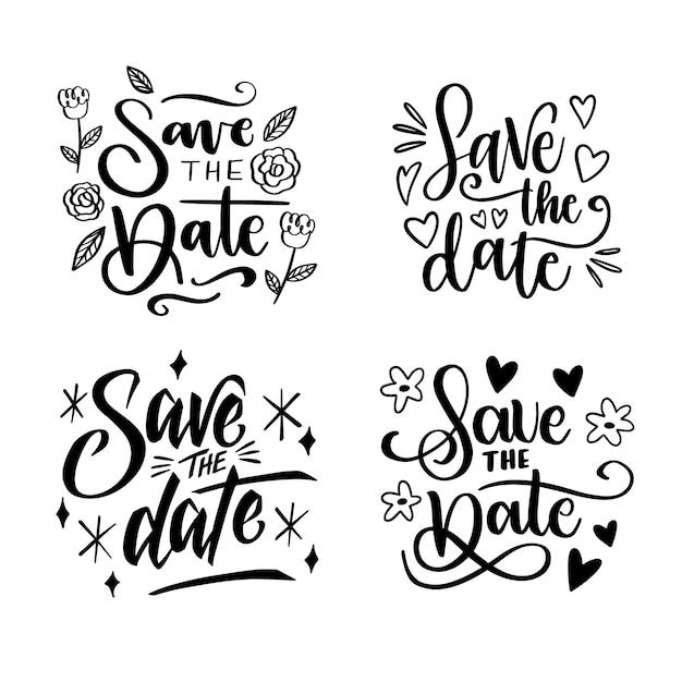 日付の結婚式のレタリングコレクションを保存します 無料ベクター