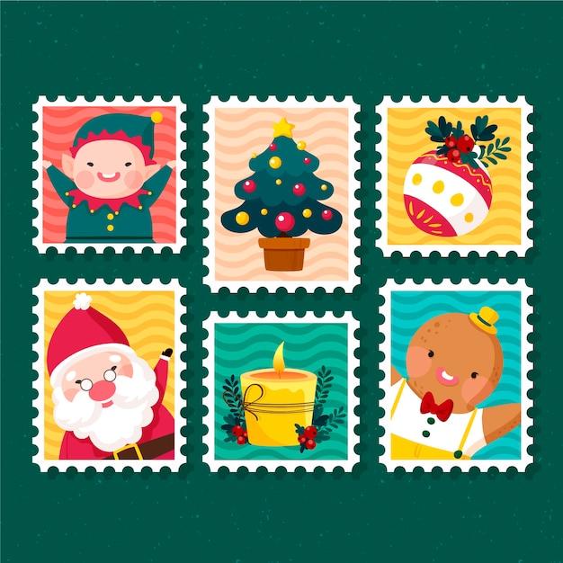 Ручной обращается коллекция рождественских марок Бесплатные векторы