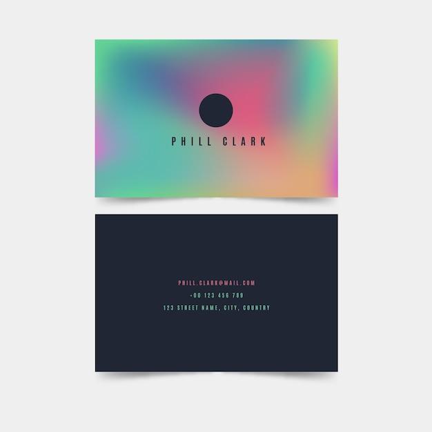 Шаблон красочный градиент визитной карточки Бесплатные векторы