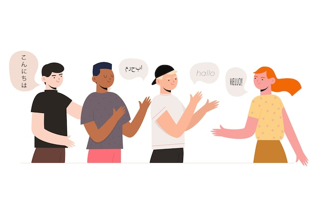 Общение и общение с людьми, разговаривающими на разных языках Бесплатные векторы