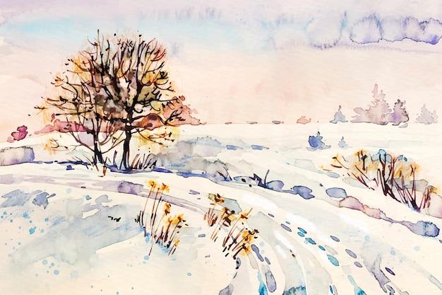木と雪道の風景 無料ベクター