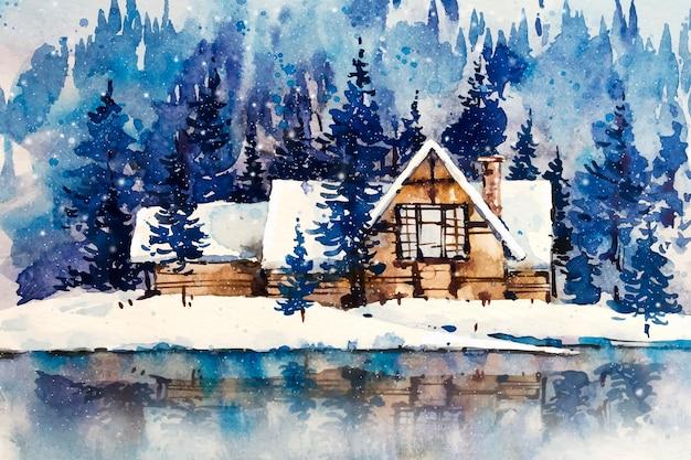 モダンな家と湖の風景の木々 無料ベクター
