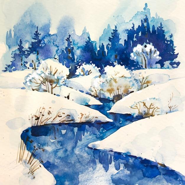 木の風景と冬の川 無料ベクター