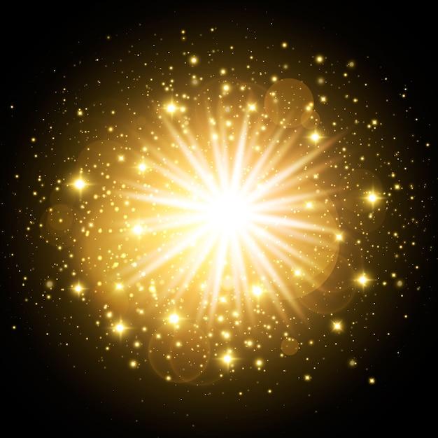 Сверкающий золотой световой эффект восхода солнца Бесплатные векторы